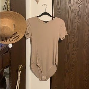 Forever 21 tan body suit with 2 snap closure